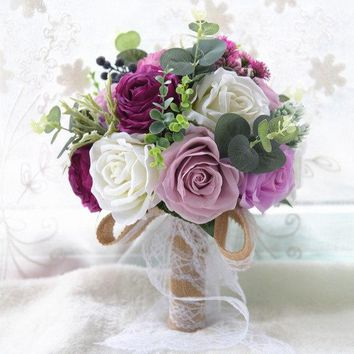 4 Colors Rustic Romantic Style Wedding Bouquet Artificial Silk Bridal Bouquet