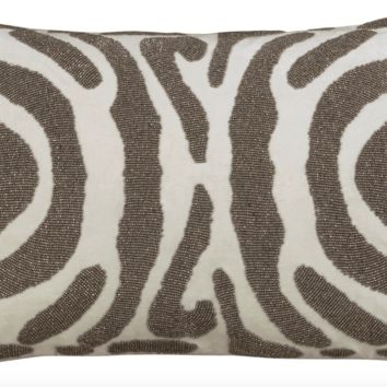 Zebra Ivory and Pewter Small Rectangle Pillow by Lili Alessandra