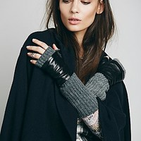 Carolina Amato Womens Vesey Cashmere and Leather Fingerless Glove