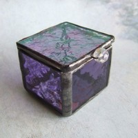 Sweet Lavender Stained Glass Box | LadybugStainedGlass - Glass on ArtFire