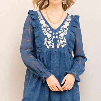 Lace Embroidered Baby-Doll Dress