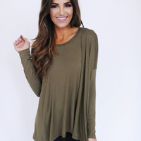 Solid High-Low Top- Olive