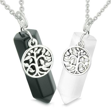 Tree of Life Energy Love Couples Best Friends Set Black Agate White Simulated Cats Eye Amulet Necklaces