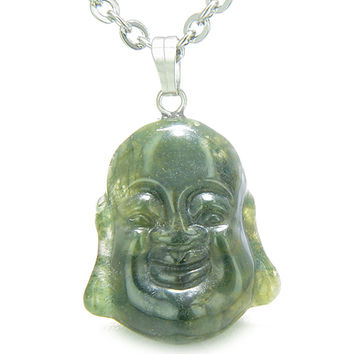 Amulet Happy Laughing Buddha Lucky Charm Moss Agate Pendant 18 Inch Necklace