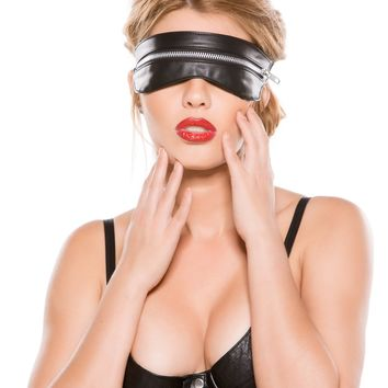 Black Faux Leather Zipped Mask