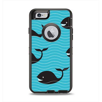 The Teal Smiling Black Whale Pattern Apple iPhone 6 Otterbox Defender Case Skin Set