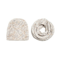 SET OF FLECKED HAT AND SCARF
