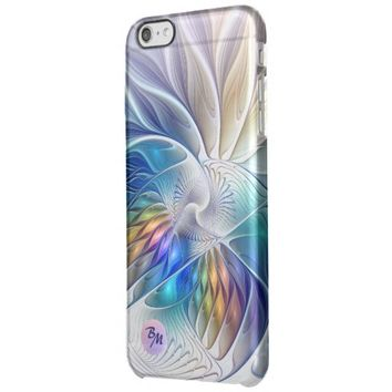 Floral Fantasy, abstract and modern, Monogram Clear iPhone 6 Plus Case