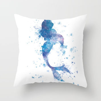 Mermaid Throw Pillow by monnprint