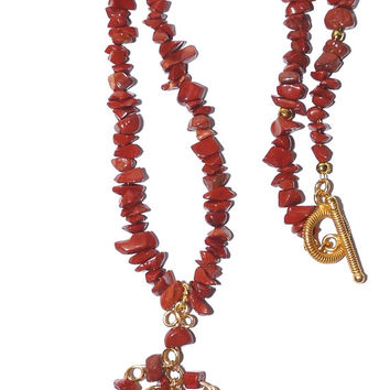 Necklace, Red Jasper, Wirework, Gold, Free Form Pendant, Nuggets, Toggle Clasp, Hand Forged, Handcrafted