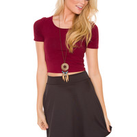 Call The Shots Crop Top - Burgundy