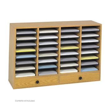 Safco Products 9494MO Oak Wood Adjustable Literature Organizer, 32 Compartment w/ Drawer