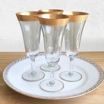 Tiffin Franciscan Minton Clear Gold Encrusted Optic Pattern 14196 Parfait Glasses / Tiffon Minton Gold Embossed Crystal Stemware