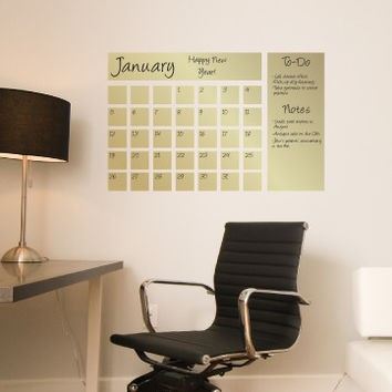 Dry Erase Calendar Decal in Gold