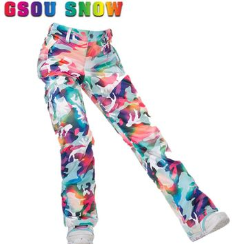 Gsou Snow d Waterproof Ski Pants Women Snowboard Pants Ski Trousers High Quality Windproof Outdoor Winter Skiing Snow Pants