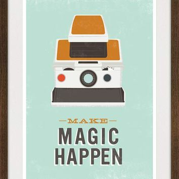 Polaroid Quote Print Retro Camera poster Typography art by handz