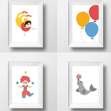 Circus Modern Stylish print, 7 Set, Nursery Art, Kids Room Decor, Poster, Digital, Instant Download, Minimalist, Rustic, Blue, Number