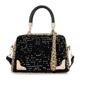Leopard Sequin Shoulder Bag