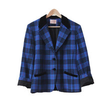 Pendleton Wool and Velvet Blue Plaid Blazer/Coat/Jacket | Made in the USA | 1980s Style w/ Shoulder Pads