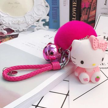 Leather Rope Bell Real Rabbit Fur Ball Pom Pom Fluffy Hello Kitty Combination Keychain Keyring Car for Women Charm Bags Pendant