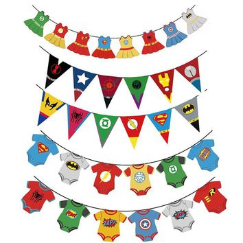 Batman Dark Knight gift Christmas Kids Favors Super hero Avengers Banner Spiderman Batman Paper Bunting For Baby Shower boys girls Birthday Party Hanging Decor AT_71_6