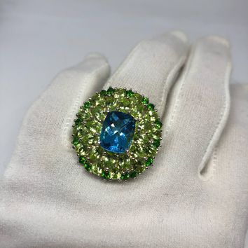 Vintage geniune London blue topaz Peridot and Crome Diopside 925 sterling silver Ring