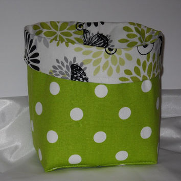 Fun Lime Green Polka Dot Fabric Basket With Butterfly liner