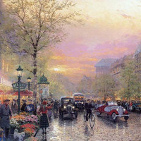 Le Boulevard des Lumieres at Dusk, City, gravel roads Thomas Kinkade Oil Paintings  Giclee Art Print On Canvas 16X24 inch
