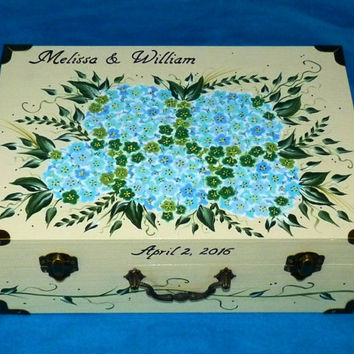 Wedding Guest Box Custom Wedding Keepsake Card Box Hand Painted Suitcase Card Box Personalized Wood Memory Box Wedding Decoration Wood Gifts