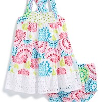 Infant Girl's Penelope Mack 'Floral Fusion' Sleeveless Dress & Bloomers,