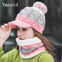 Fashion Woman Autumn Winter Hat and Scarf Sets Female Knitting Thickening Cap Collar Sets Students Warm Hat Girl Knitted Beanies