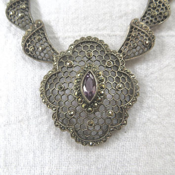 Antique Art Deco Necklace, Sterling Filigree Marcasite, Amethyst Bib Necklace, Vintage Statement Necklace, Antique Art Deco Jewelry