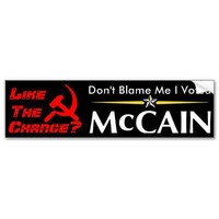 Don't Blame Me I Voted McCain Bumper Stickers from Zazzle.com