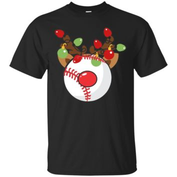 Funny Christmas Softball Red Nosed Reindeer Tshirt