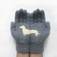 Christmas Gift, Doxie Gloves, Sausage Dogs, Dachshund Gloves, Wiener Gloves, Gray Gloves, Grey Gloves, Special Gift, Xmas Gift, Holiday Gift