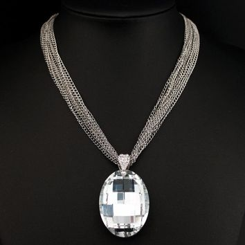 Fashion Big Glass Crystal Pendant Necklace Statement Chunky Multi-Chain Short Necklace New Luxury Crystal Stone Necklace X1618