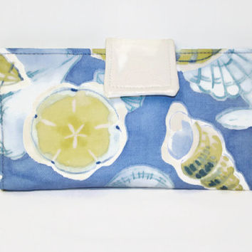 Women's Bi-fold Wallet/Blue and Yellow Seashell Print Wallet,Clutch/Blue and Yellow Wallet