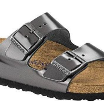 Birkenstock Unisex Arizona Metallic Anthracite Leather Sandals - 40 M EU / 9-9.5 B(M)
