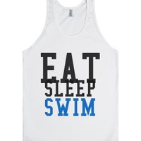 Eat Sleep Swim Tank-Unisex White Tank