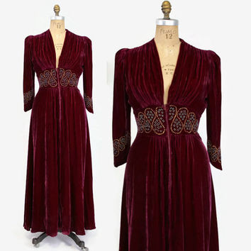 Vintage 40s DRESSING GOWN / 1940s Studded Zip Front Plum Silk Velvet Hostess Dress with Turquoise and Gold Studs & Plunging Neckline