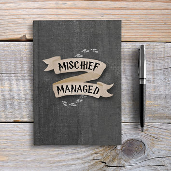 Writing Journal, Hardcover Notebook, Sketchbook, Diary, Harry Potter, Unique Gift Under 20, Blank or Lined pages - Mischief Managed