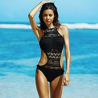 One piece monokini push up with lace insert design