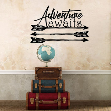 Adventure Awaits Decal Quote Wall Decals Boho Arrows Kids Nursery Vinyl Stickers  Home Bedroom Decor  T32