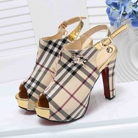 Burberry Women Fashion Casual Peep Toe Slingback Sandals High Heels Shoes