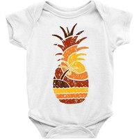 pineapple and beach Baby Onesuit