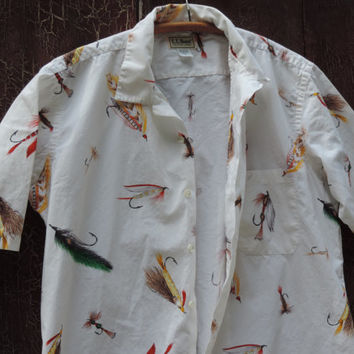 Vintage LL Bean Men's Casual Shirt Trendy Fly Fishing Shirt 100% Cotton Short Sleeve Shirt Father's Day Gift