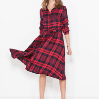 In The Woods Plaid Midi Shirt Dress