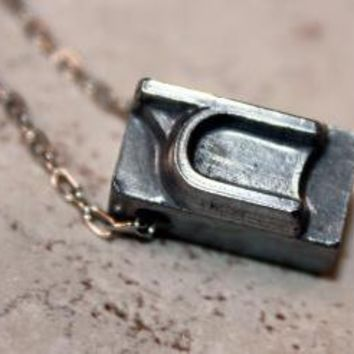 Lowercase H Letter Press Necklace by WoodenNickelsJewelry on Etsy