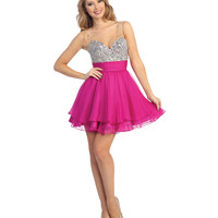 (PRE-ORDER) 2014 Prom Dresses - Magenta Chiffon & Silver Sequin Short Dress