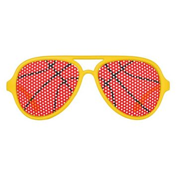 Red Basketball Aviator Party Shades Sunglasses
